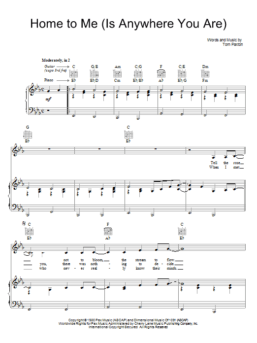 Tom Paxton Home For Me (Is Anywhere You Are) sheet music preview music notes and score for Piano, Vocal & Guitar (Right-Hand Melody) including 5 page(s)
