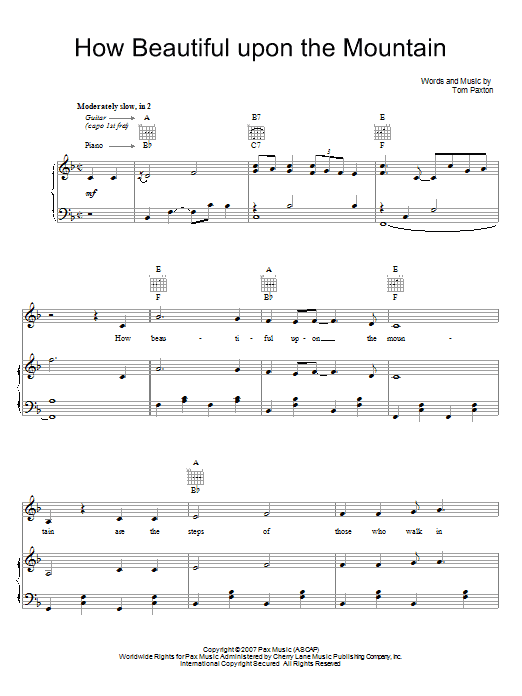Tom Paxton How Beautiful Upon The Mountain sheet music preview music notes and score for Piano, Vocal & Guitar (Right-Hand Melody) including 7 page(s)