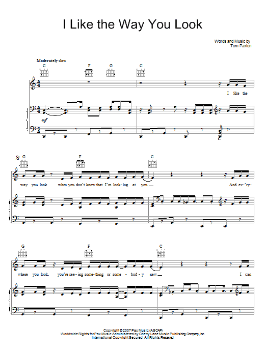 Tom Paxton I Like The Way You Look sheet music preview music notes and score for Piano, Vocal & Guitar (Right-Hand Melody) including 4 page(s)