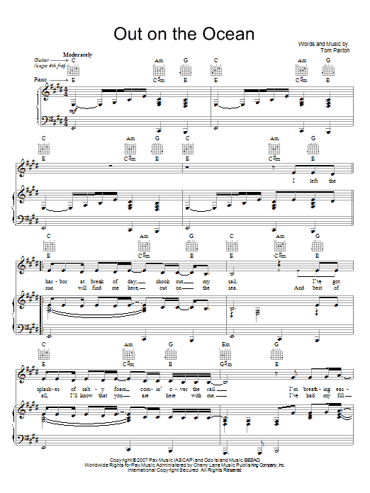 Tom Paxton Out On The Ocean sheet music preview music notes and score for Piano, Vocal & Guitar (Right-Hand Melody) including 4 page(s)