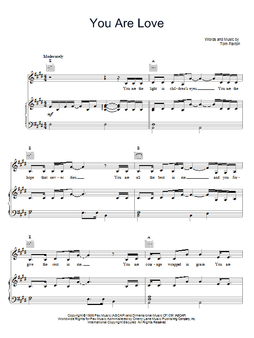 Tom Paxton You Are Love sheet music preview music notes and score for Piano, Vocal & Guitar (Right-Hand Melody) including 4 page(s)