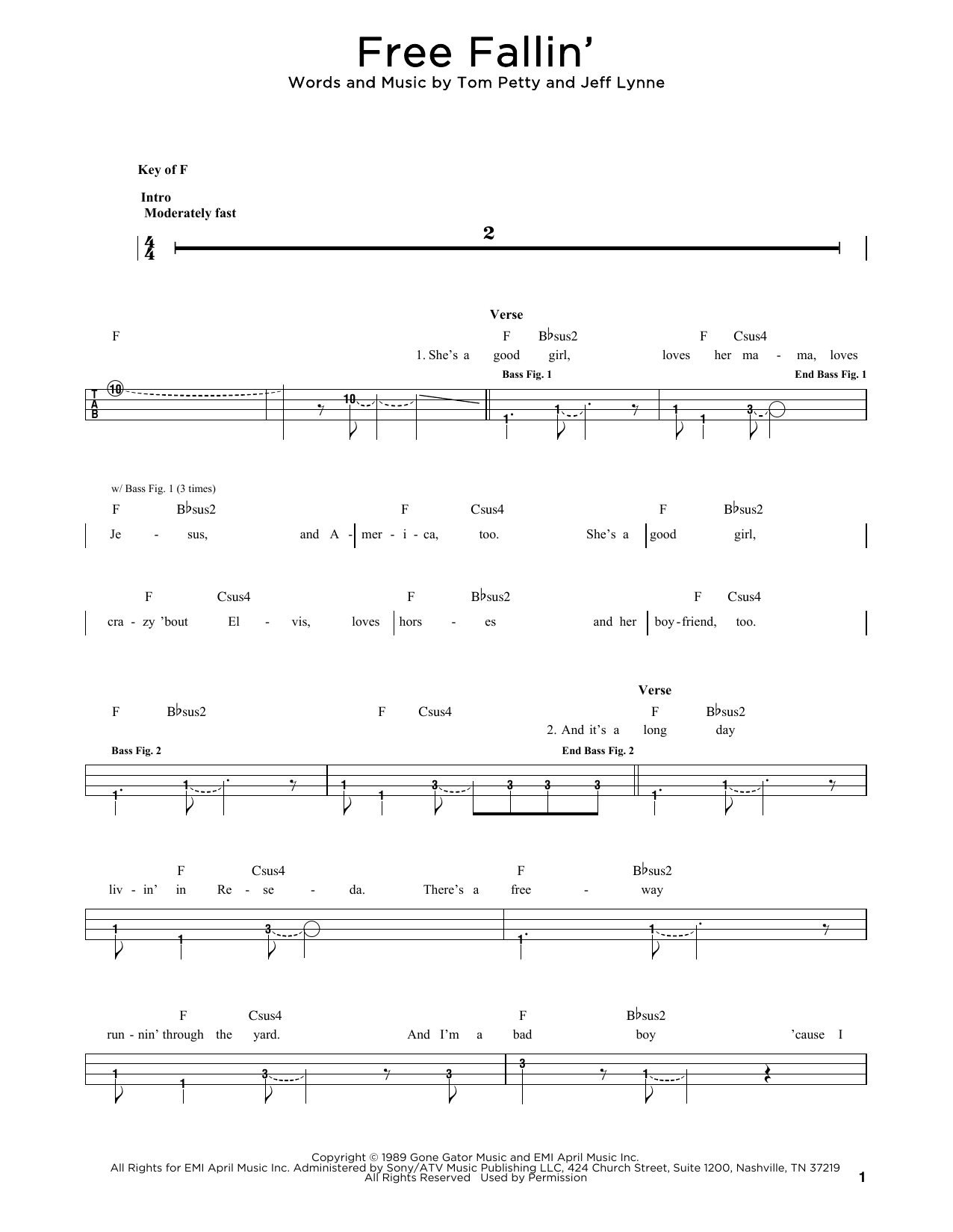 Tom Petty Free Fallin' sheet music notes and chords