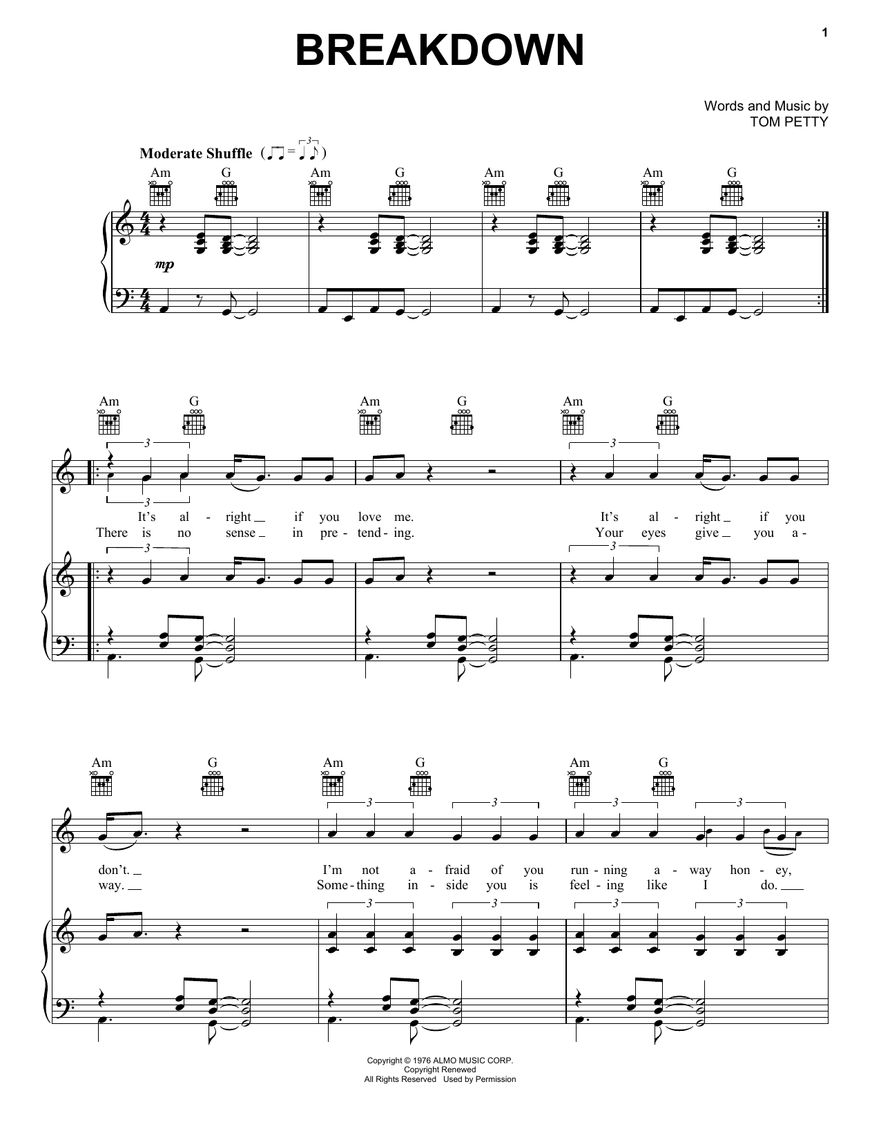 Tom Petty And The Heartbreakers Breakdown sheet music preview music notes and score for Guitar Tab including 4 page(s)