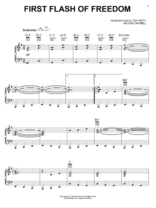 Tom Petty And The Heartbreakers First Flash Of Freedom sheet music notes and chords