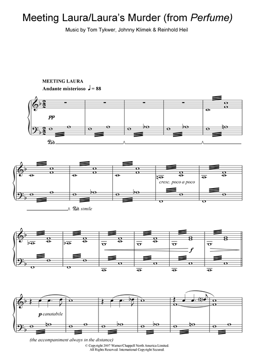 Download Tom Tykwer 'Meeting Laura/Laura's Murder (from Perfume)' Digital Sheet Music Notes & Chords and start playing in minutes