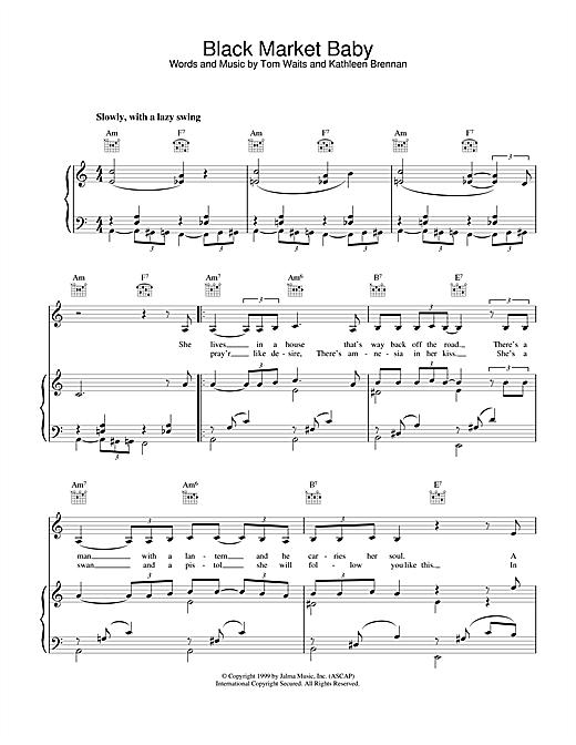 Tom Waits Black Market Baby sheet music notes and chords