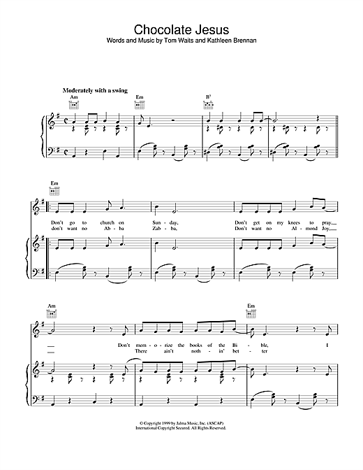 Tom Waits Chocolate Jesus sheet music notes and chords