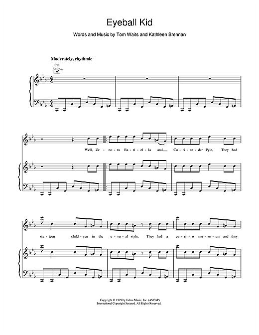 Tom Waits Eyeball Kid sheet music notes and chords