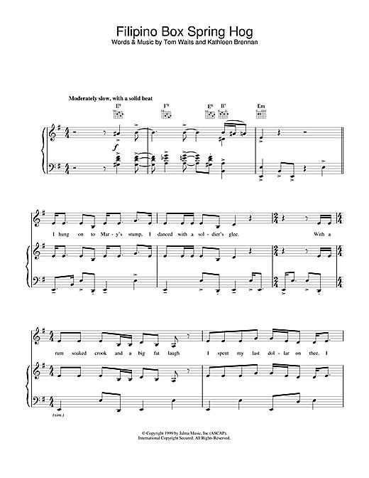 Tom Waits Filipino Box Spring Hog sheet music notes and chords