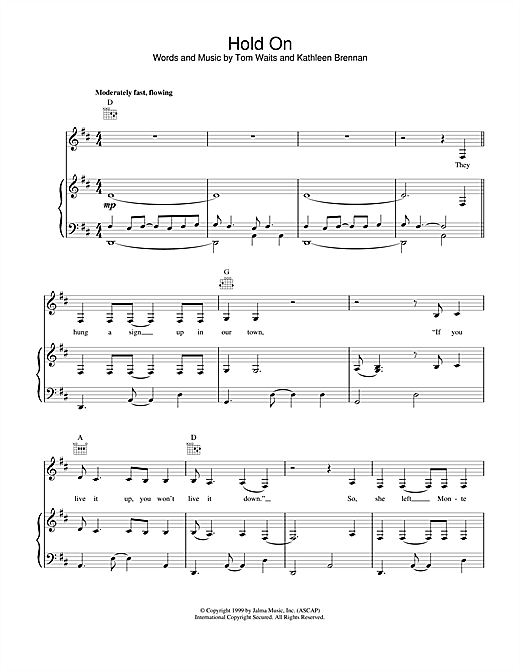 Tom Waits Hold On sheet music notes and chords