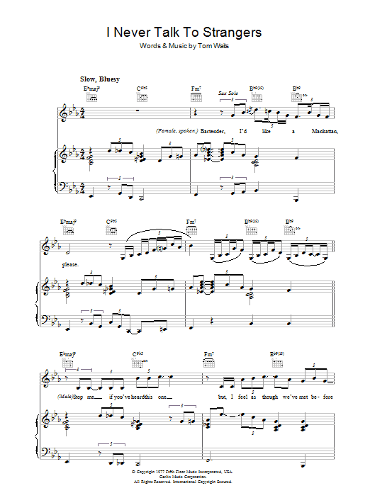 Tom Waits I Never Talk To Strangers sheet music preview music notes and score for Piano, Vocal & Guitar including 7 page(s)