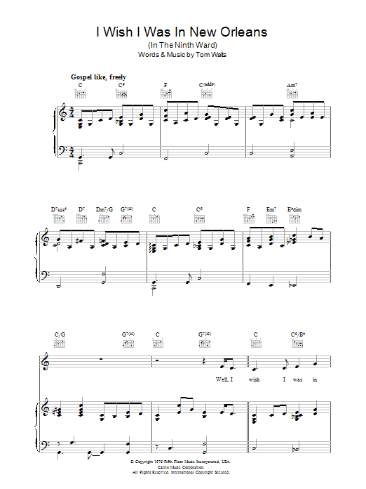 Tom Waits I Wish I Was In New Orleans sheet music preview music notes and score for Piano, Vocal & Guitar (Right-Hand Melody) including 4 page(s)