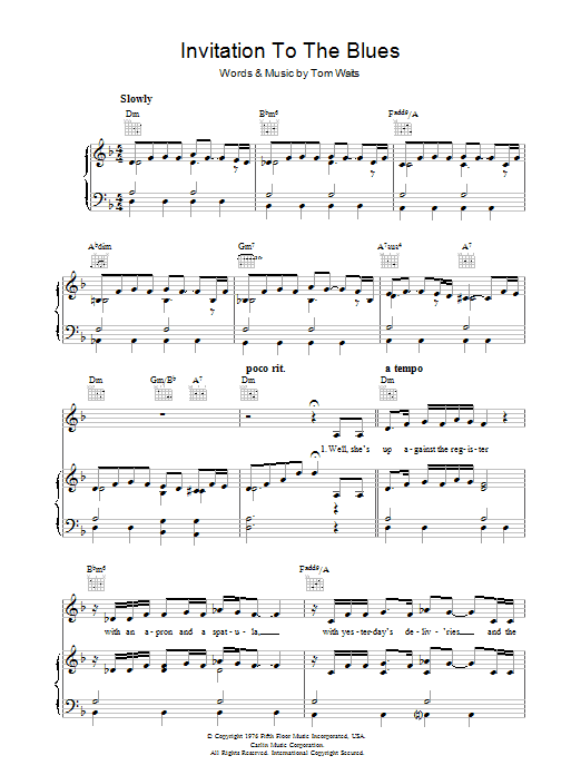 Tom Waits Invitation To The Blues sheet music preview music notes and score for Piano, Vocal & Guitar (Right-Hand Melody) including 6 page(s)