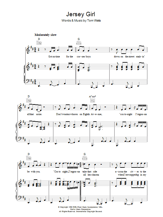 Tom Waits Jersey Girl sheet music preview music notes and score for Piano, Vocal & Guitar (Right-Hand Melody) including 4 page(s)