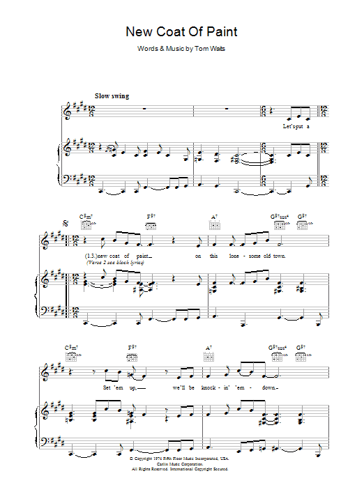 Tom Waits New Coat Of Paint sheet music preview music notes and score for Piano, Vocal & Guitar (Right-Hand Melody) including 3 page(s)