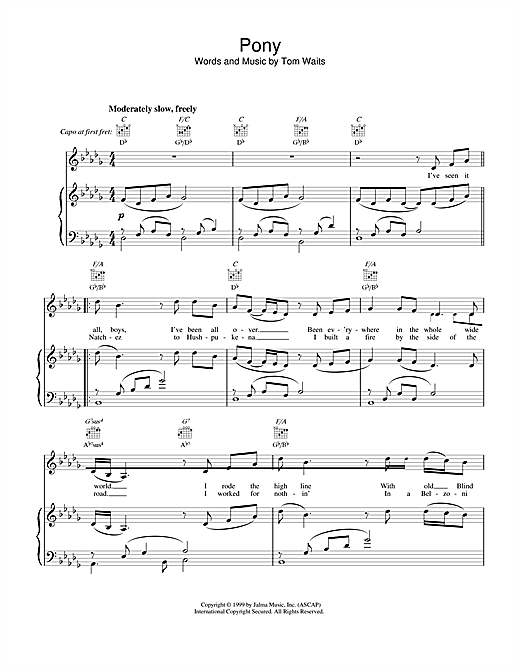 Tom Waits Pony sheet music notes and chords