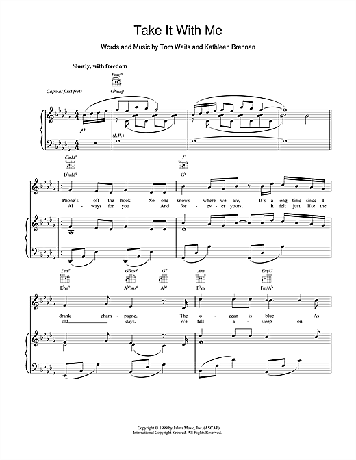 Tom Waits Take It With Me sheet music notes and chords