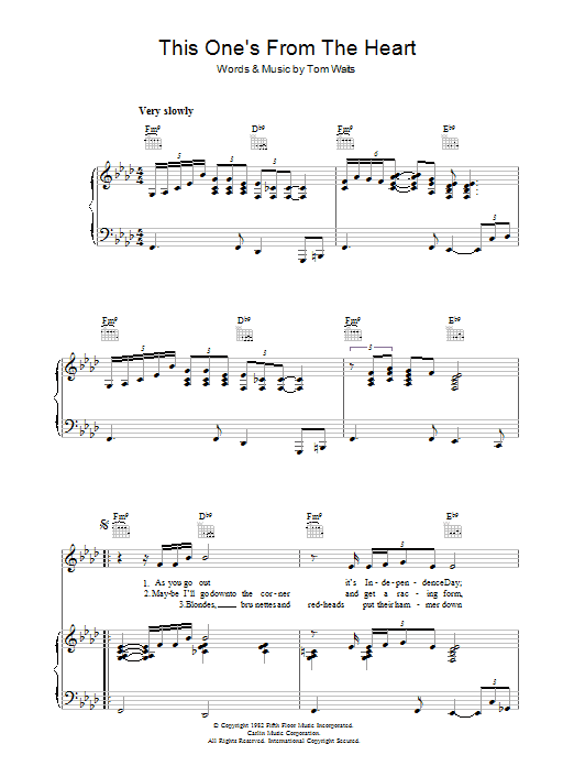 Tom Waits This One's From The Heart sheet music preview music notes and score for Piano, Vocal & Guitar (Right-Hand Melody) including 4 page(s)