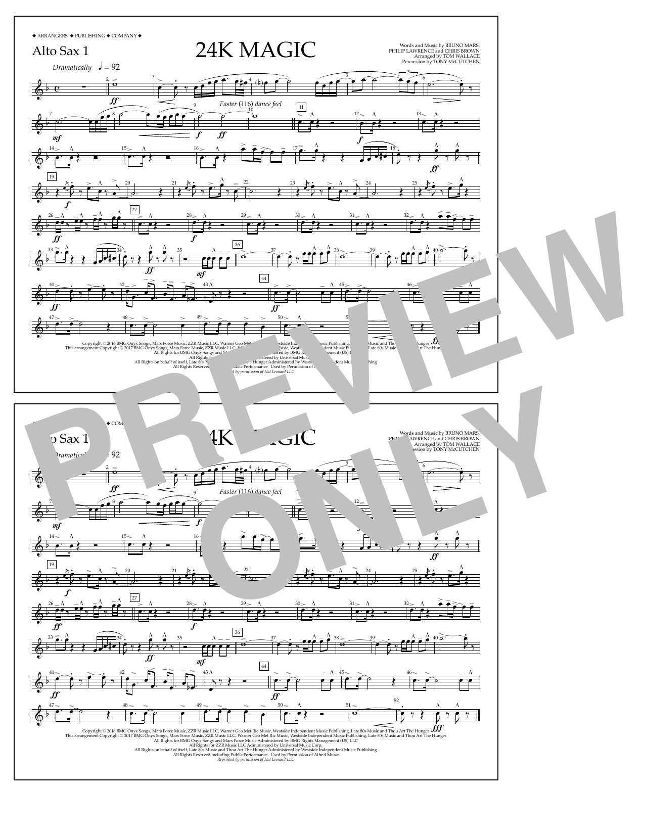 Tom Wallace 24K Magic - Alto Sax 1 sheet music preview music notes and score for Marching Band including 1 page(s)