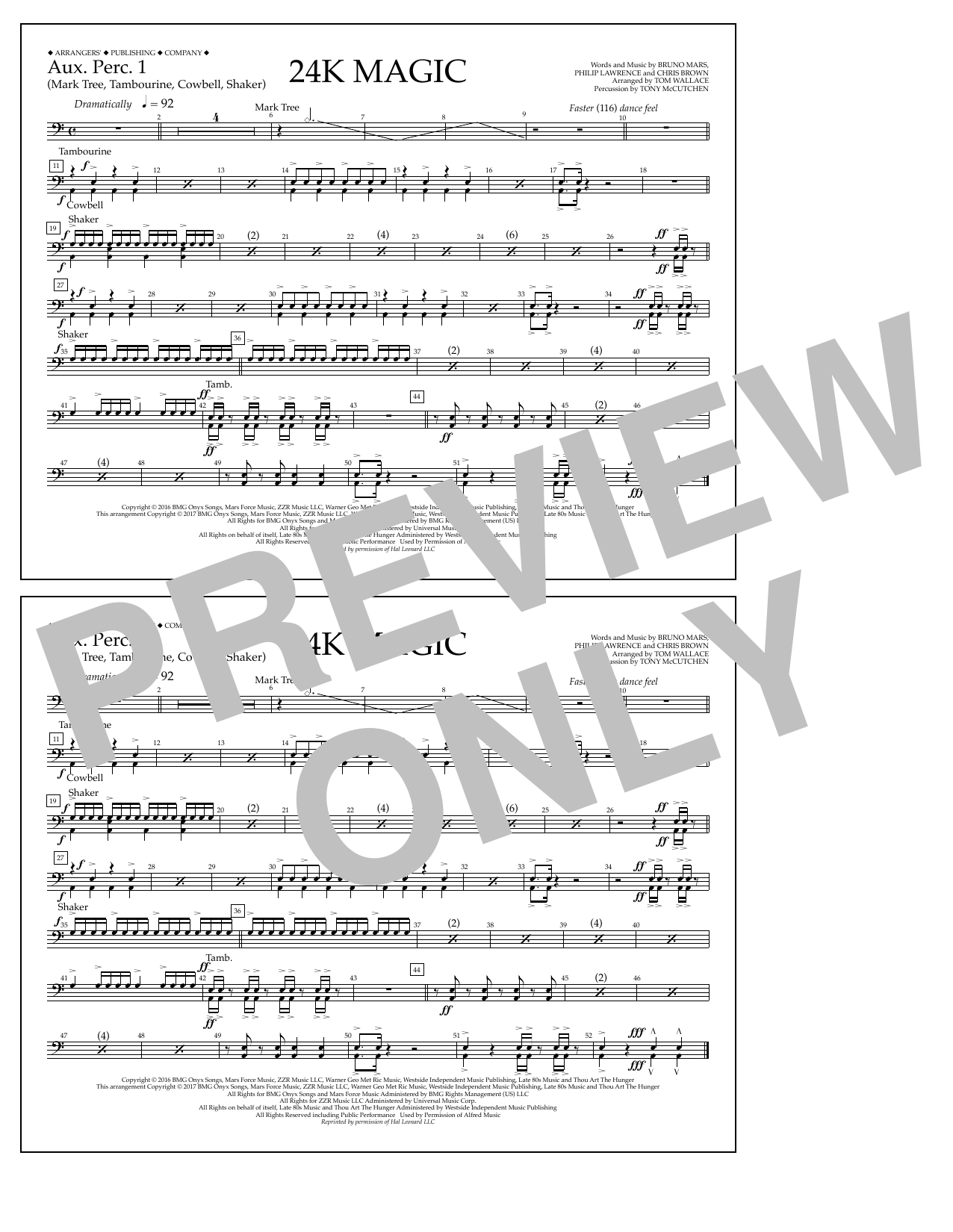 Tom Wallace 24K Magic - Aux. Perc. 1 sheet music preview music notes and score for Marching Band including 1 page(s)
