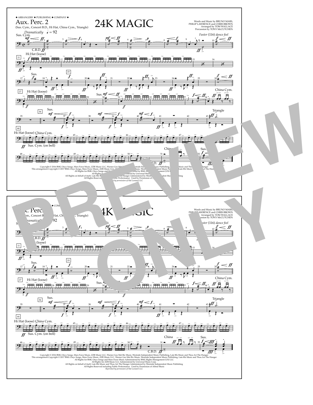 Tom Wallace 24K Magic - Aux. Perc. 2 sheet music preview music notes and score for Marching Band including 1 page(s)