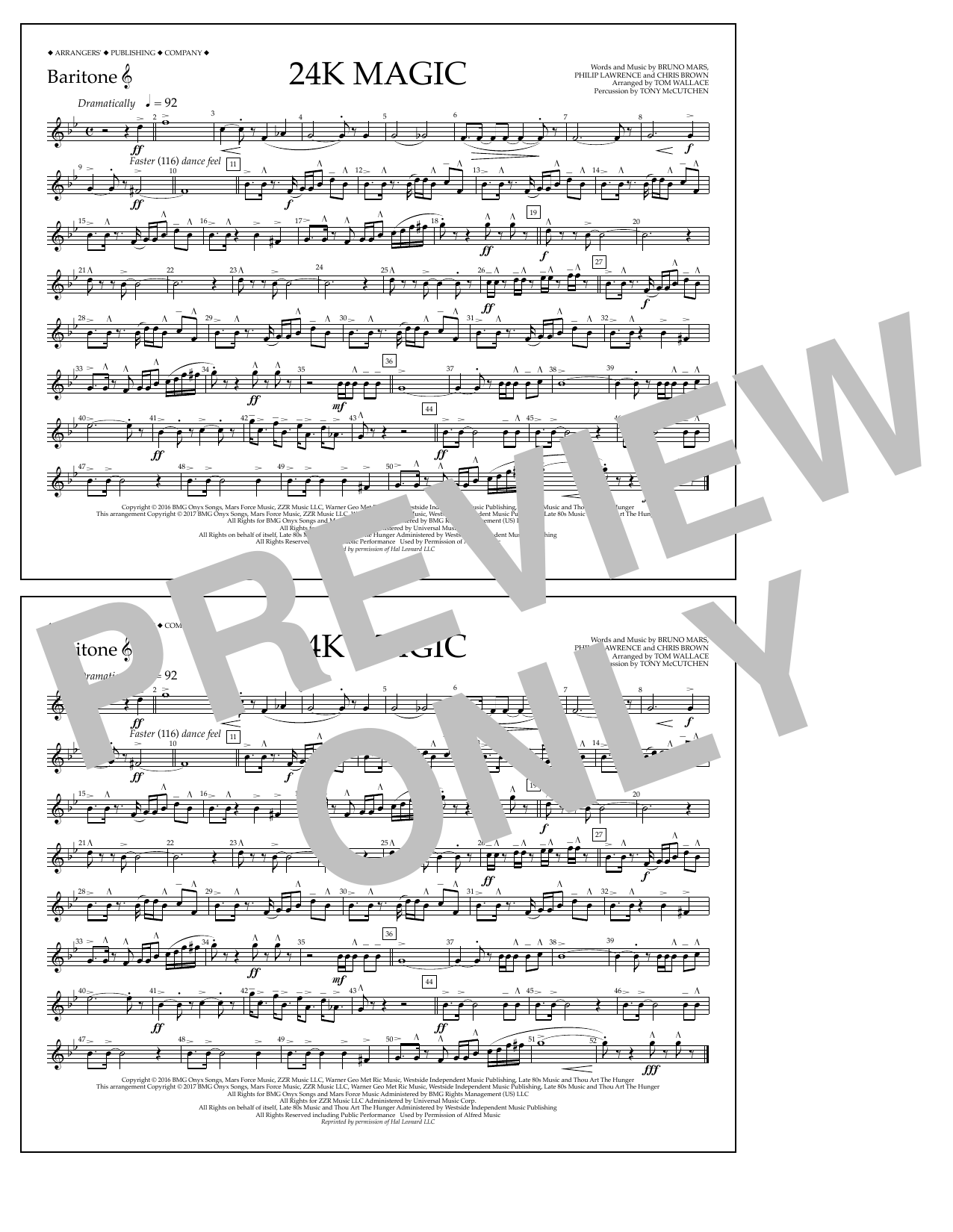 Tom Wallace 24K Magic - Baritone T.C. sheet music preview music notes and score for Marching Band including 1 page(s)
