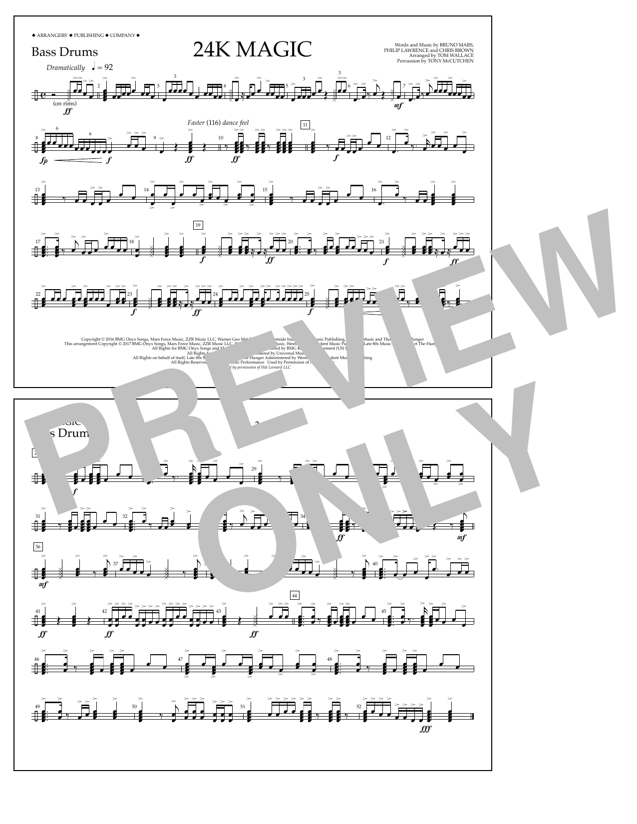 Tom Wallace 24K Magic - Bass Drums sheet music preview music notes and score for Marching Band including 1 page(s)