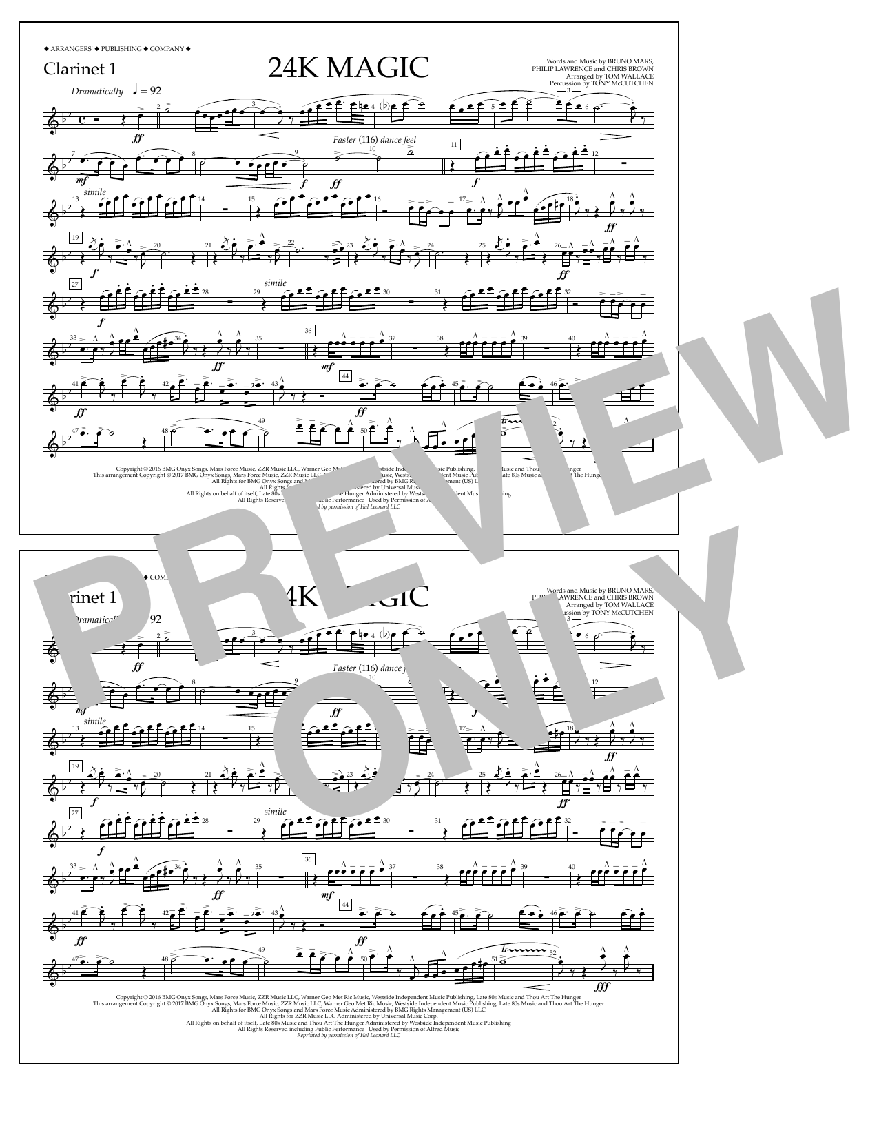 Tom Wallace 24K Magic - Clarinet 1 sheet music preview music notes and score for Marching Band including 1 page(s)