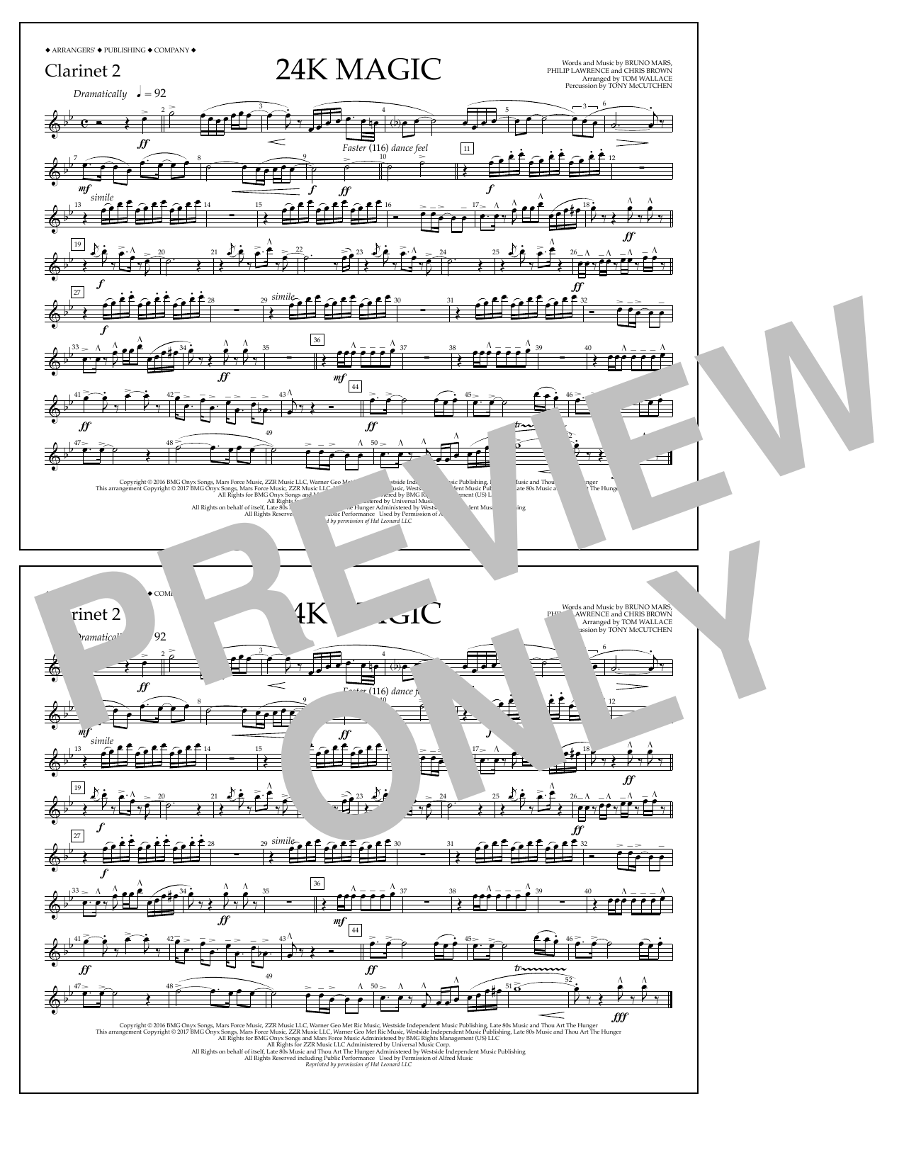 Tom Wallace 24K Magic - Clarinet 2 sheet music preview music notes and score for Marching Band including 1 page(s)