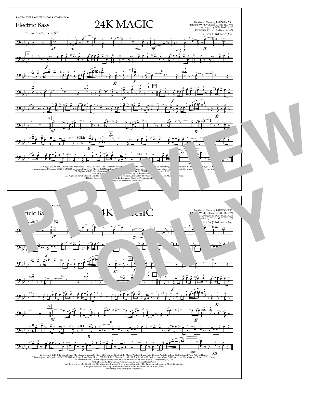 Tom Wallace 24K Magic - Electric Bass sheet music preview music notes and score for Marching Band including 1 page(s)