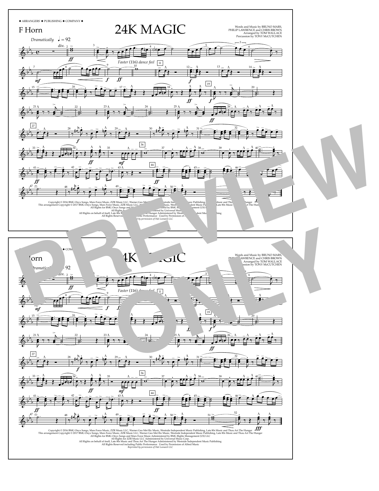 Tom Wallace 24K Magic - F Horn sheet music preview music notes and score for Marching Band including 1 page(s)