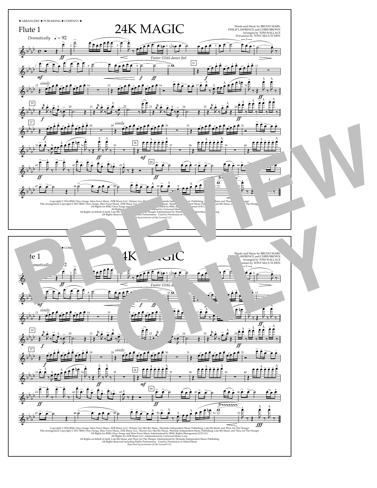 Tom Wallace 24K Magic - Flute 1 sheet music preview music notes and score for Marching Band including 1 page(s)