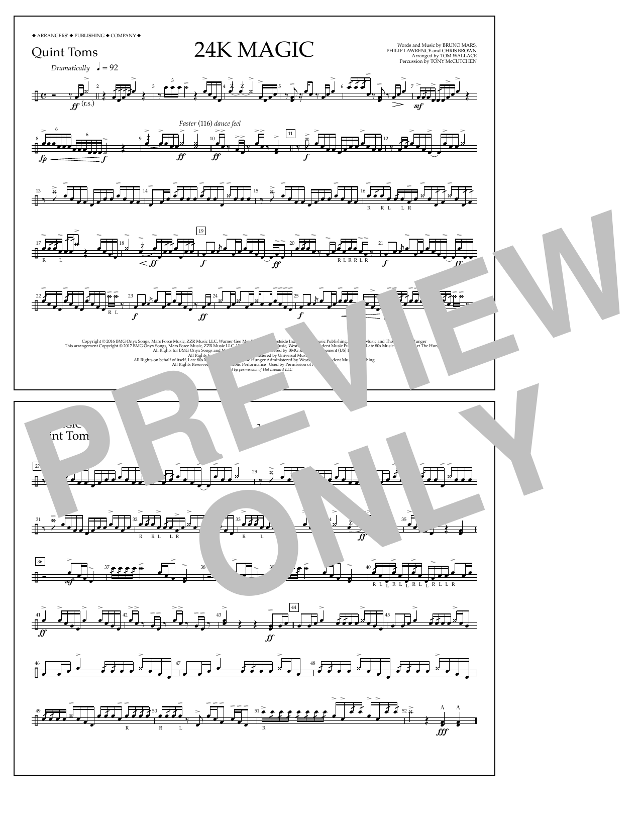 Tom Wallace 24K Magic - Quint-Toms sheet music preview music notes and score for Marching Band including 1 page(s)