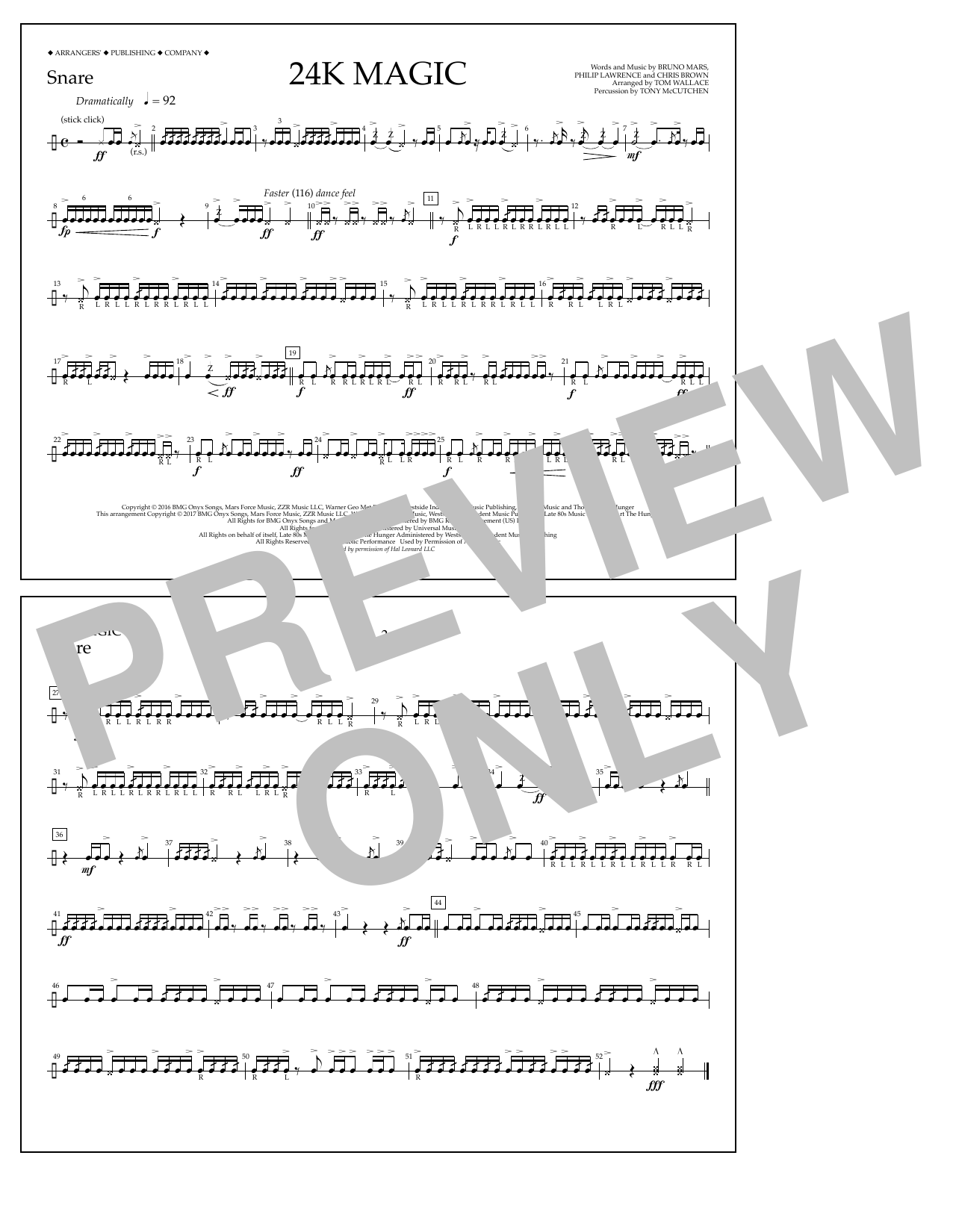 Tom Wallace 24K Magic - Snare sheet music preview music notes and score for Marching Band including 1 page(s)