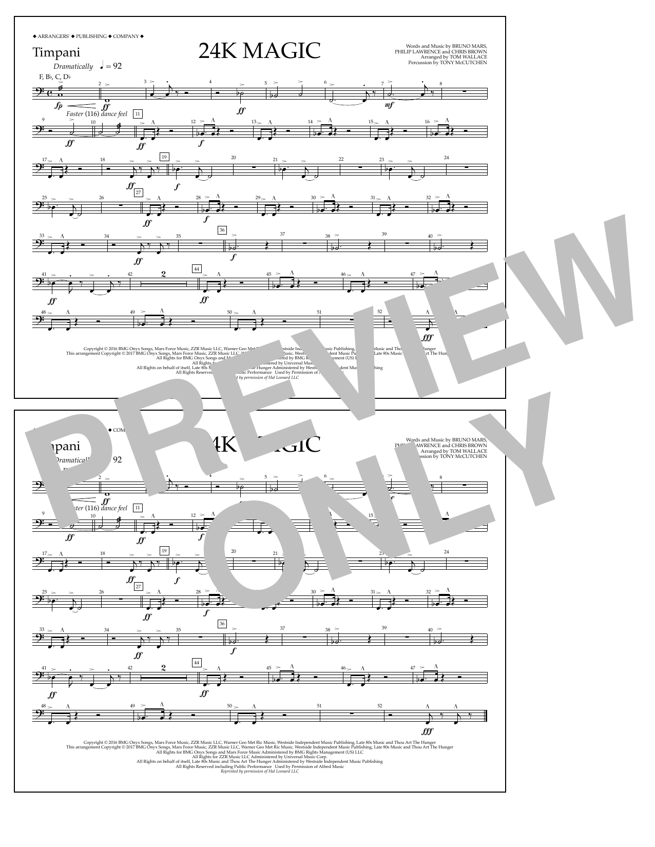 Tom Wallace 24K Magic - Timpani sheet music preview music notes and score for Marching Band including 1 page(s)