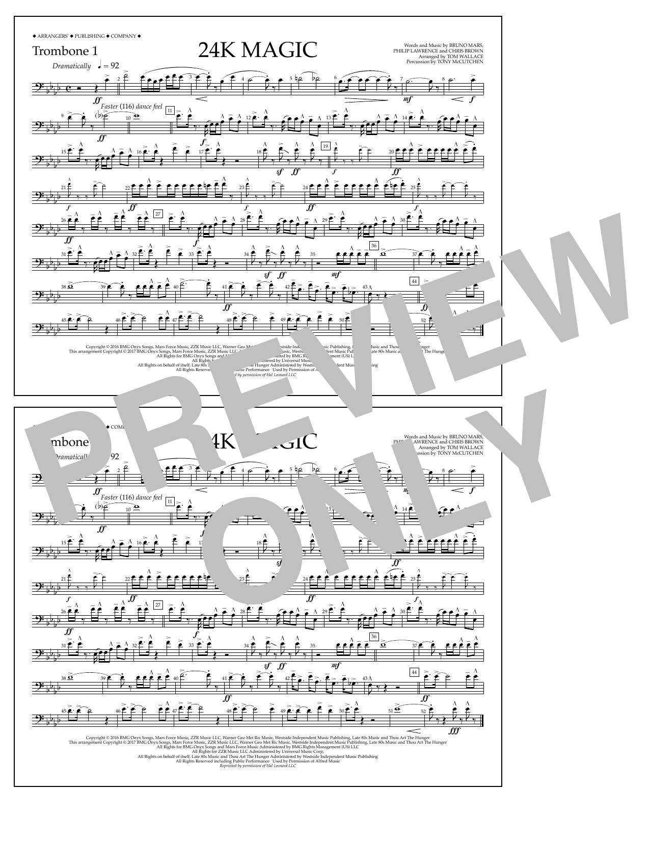 Tom Wallace 24K Magic - Trombone 1 sheet music preview music notes and score for Marching Band including 1 page(s)