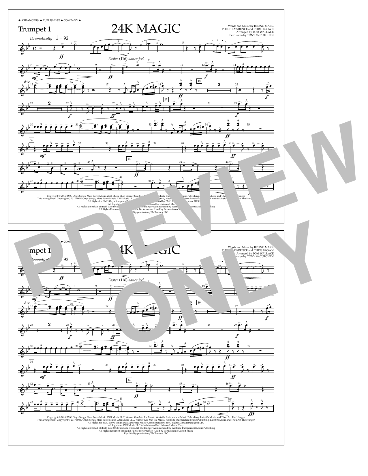 Tom Wallace 24K Magic - Trumpet 1 sheet music preview music notes and score for Marching Band including 1 page(s)