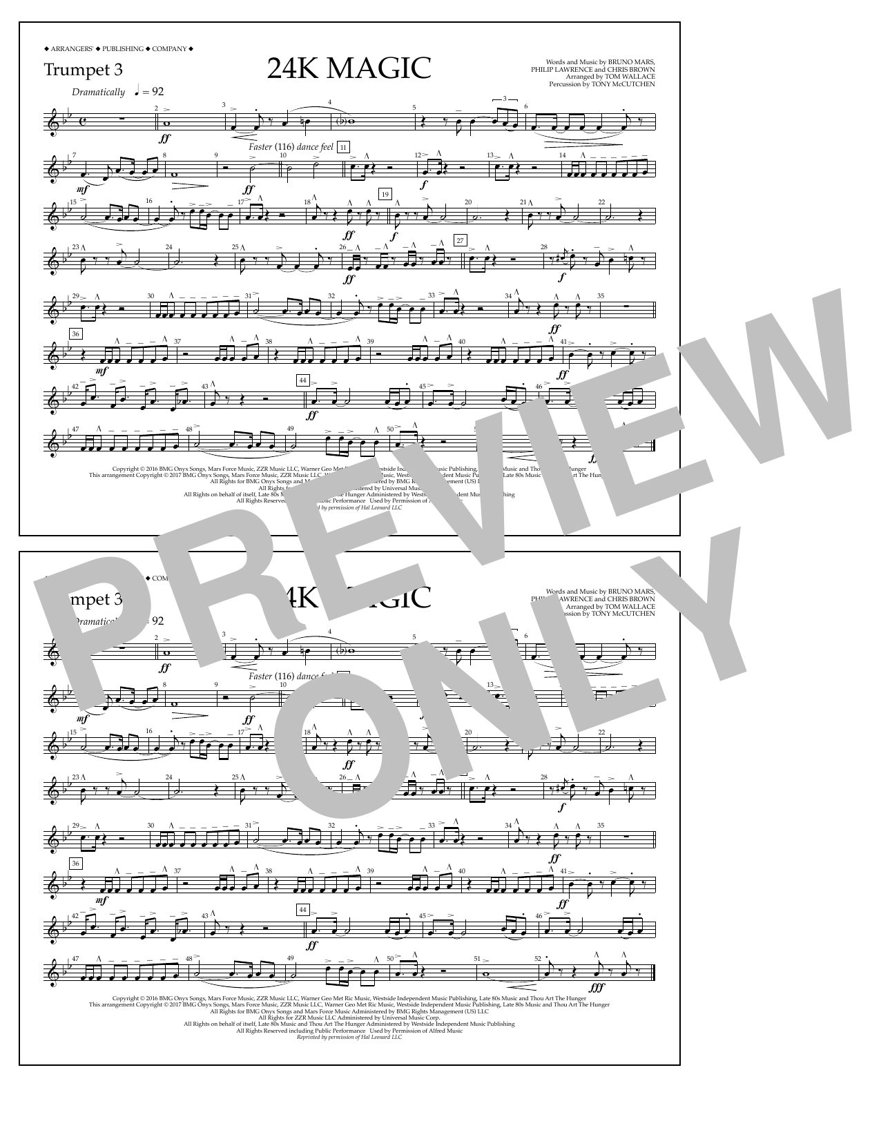 Tom Wallace 24K Magic - Trumpet 3 sheet music preview music notes and score for Marching Band including 1 page(s)