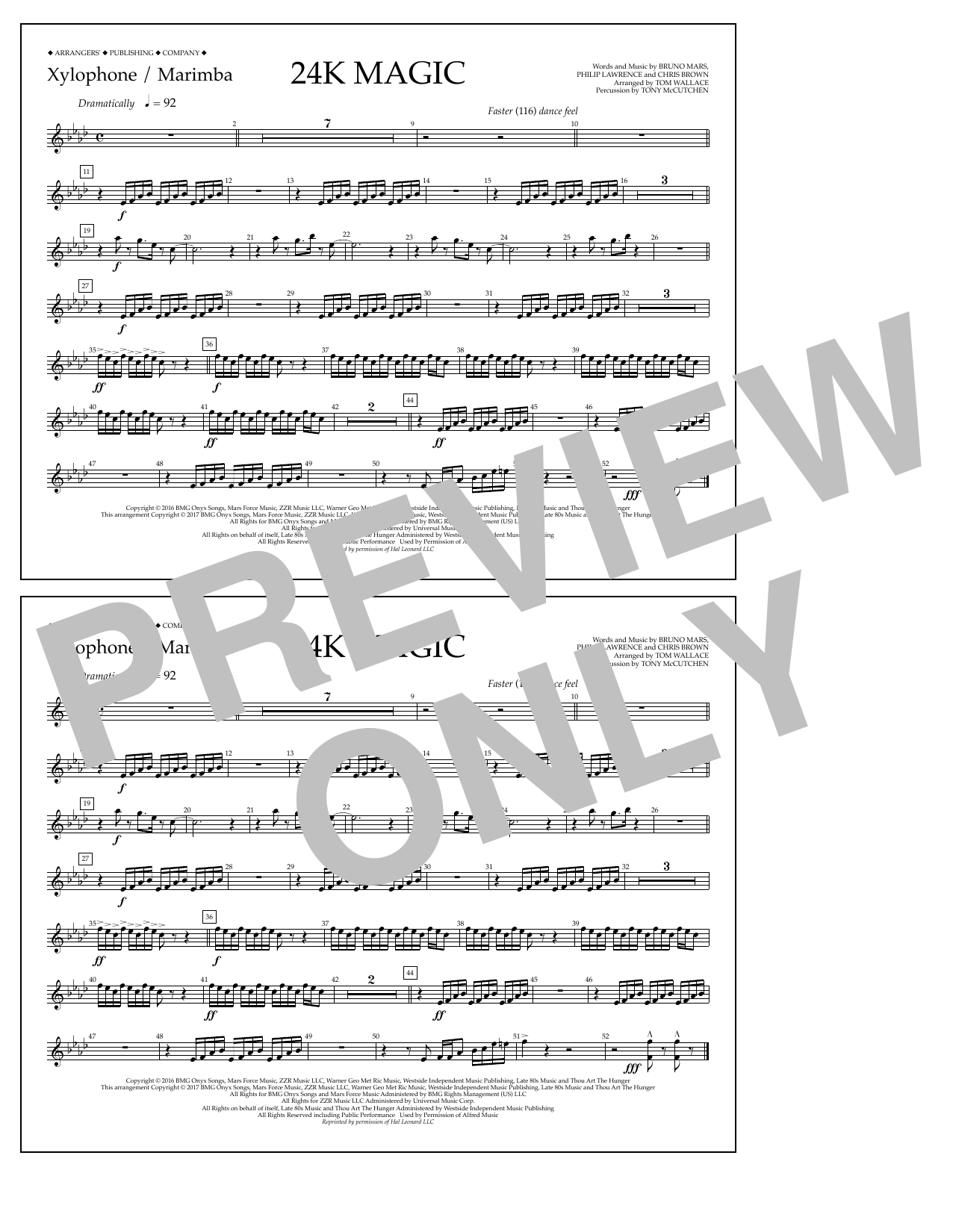 Tom Wallace 24K Magic - Xylophone/Marimba sheet music preview music notes and score for Marching Band including 1 page(s)