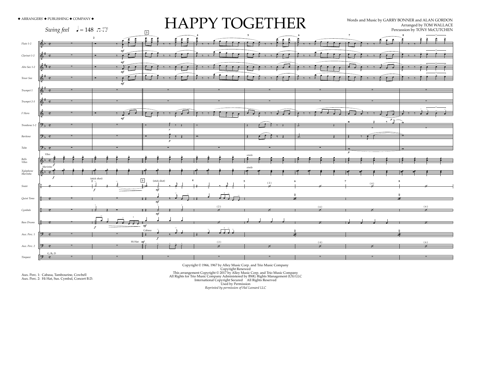 Tom Wallace Happy Together - Full Score sheet music preview music notes and score for Marching Band including 7 page(s)
