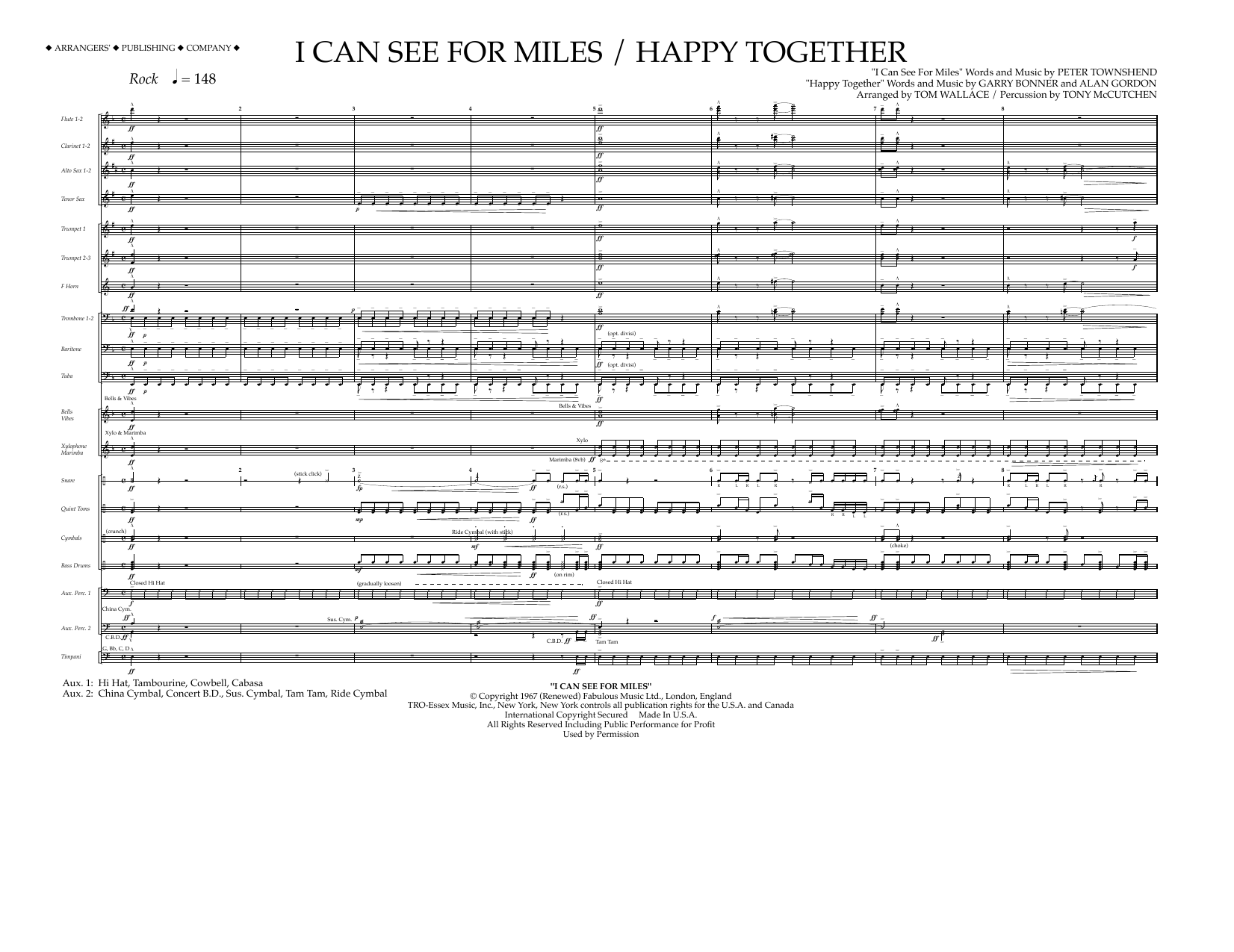 Tom Wallace I Can See for Miles/Happy Together - Full Score sheet music preview music notes and score for Marching Band including 8 page(s)