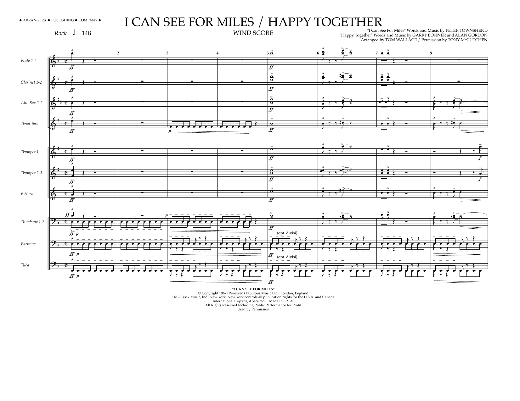 Tom Wallace I Can See for Miles/Happy Together - Wind Score sheet music preview music notes and score for Marching Band including 8 page(s)
