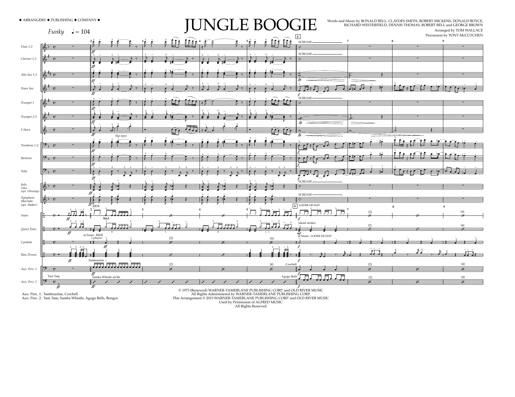 Tom Wallace Jungle Boogie - Full Score sheet music preview music notes and score for Marching Band including 6 page(s)