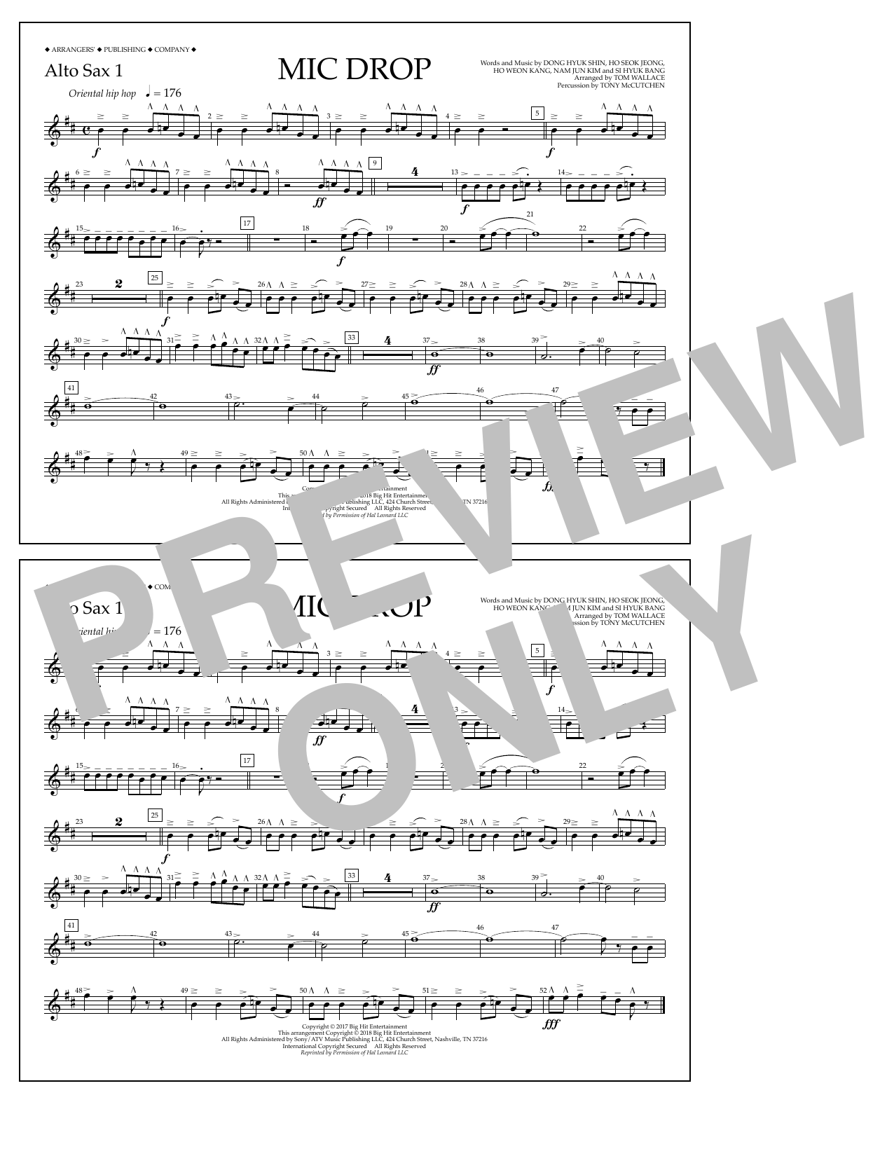 Download Tom Wallace 'Mic Drop - Alto Sax 1' Digital Sheet Music Notes & Chords and start playing in minutes