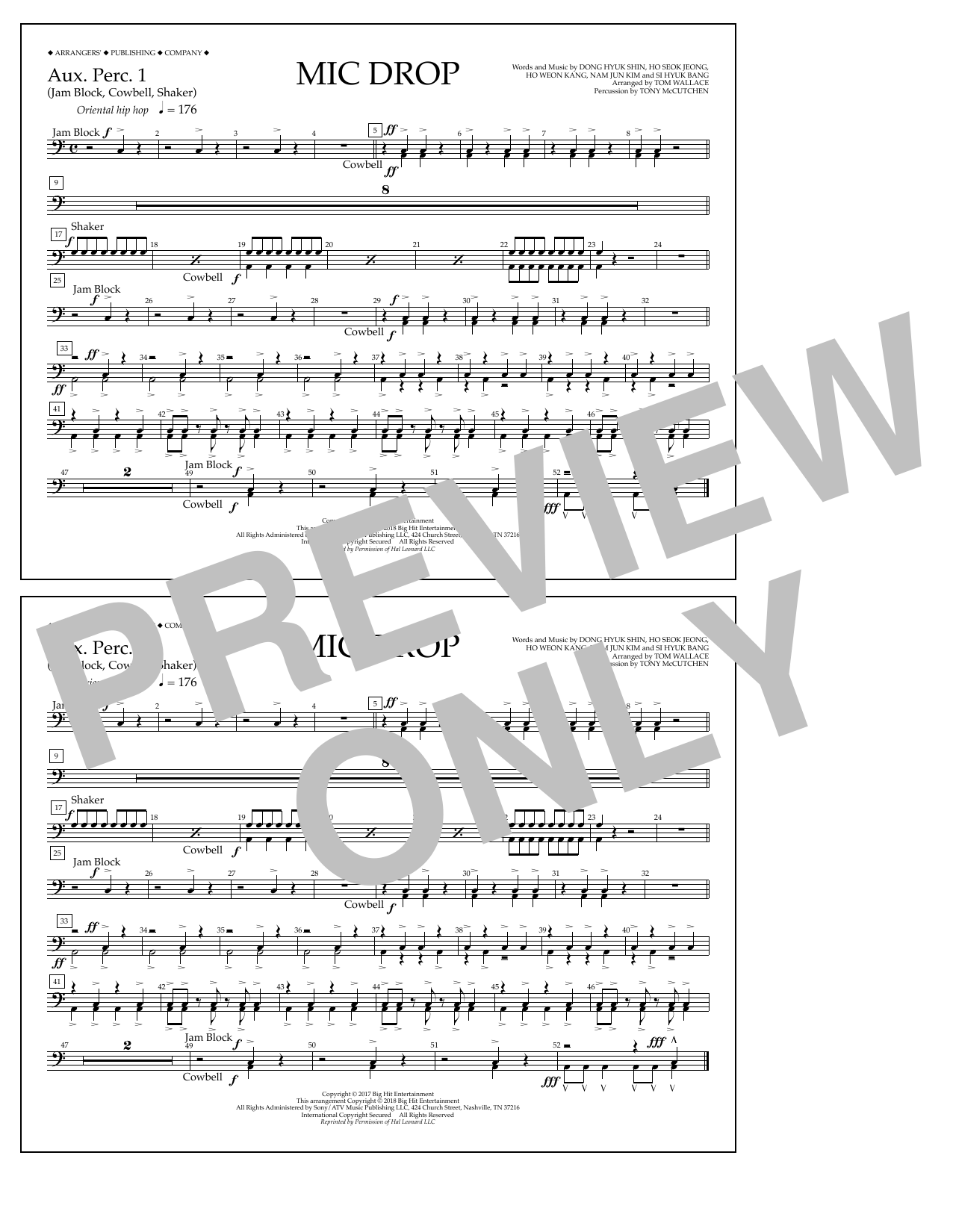 Download Tom Wallace 'Mic Drop - Aux. Perc. 1' Digital Sheet Music Notes & Chords and start playing in minutes