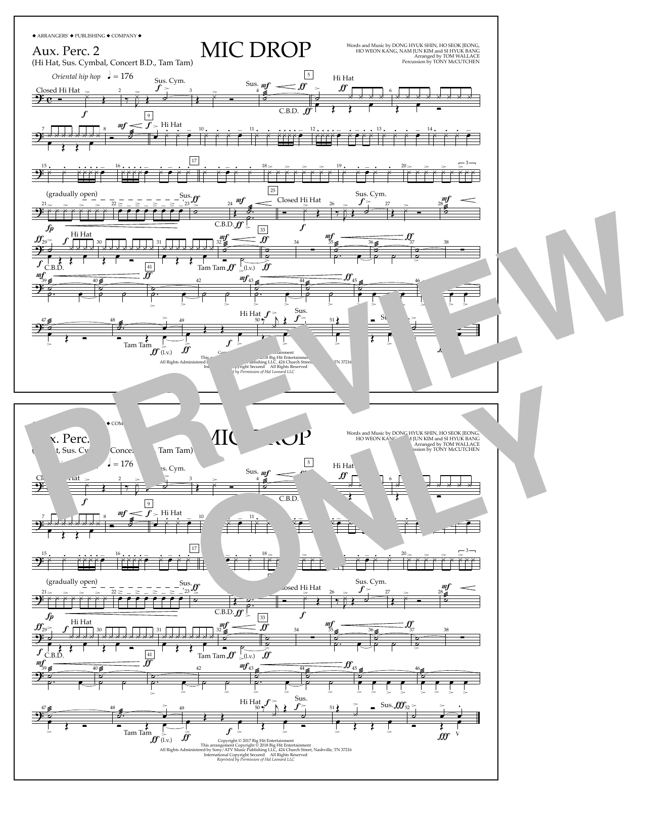 Download Tom Wallace 'Mic Drop - Aux. Perc. 2' Digital Sheet Music Notes & Chords and start playing in minutes