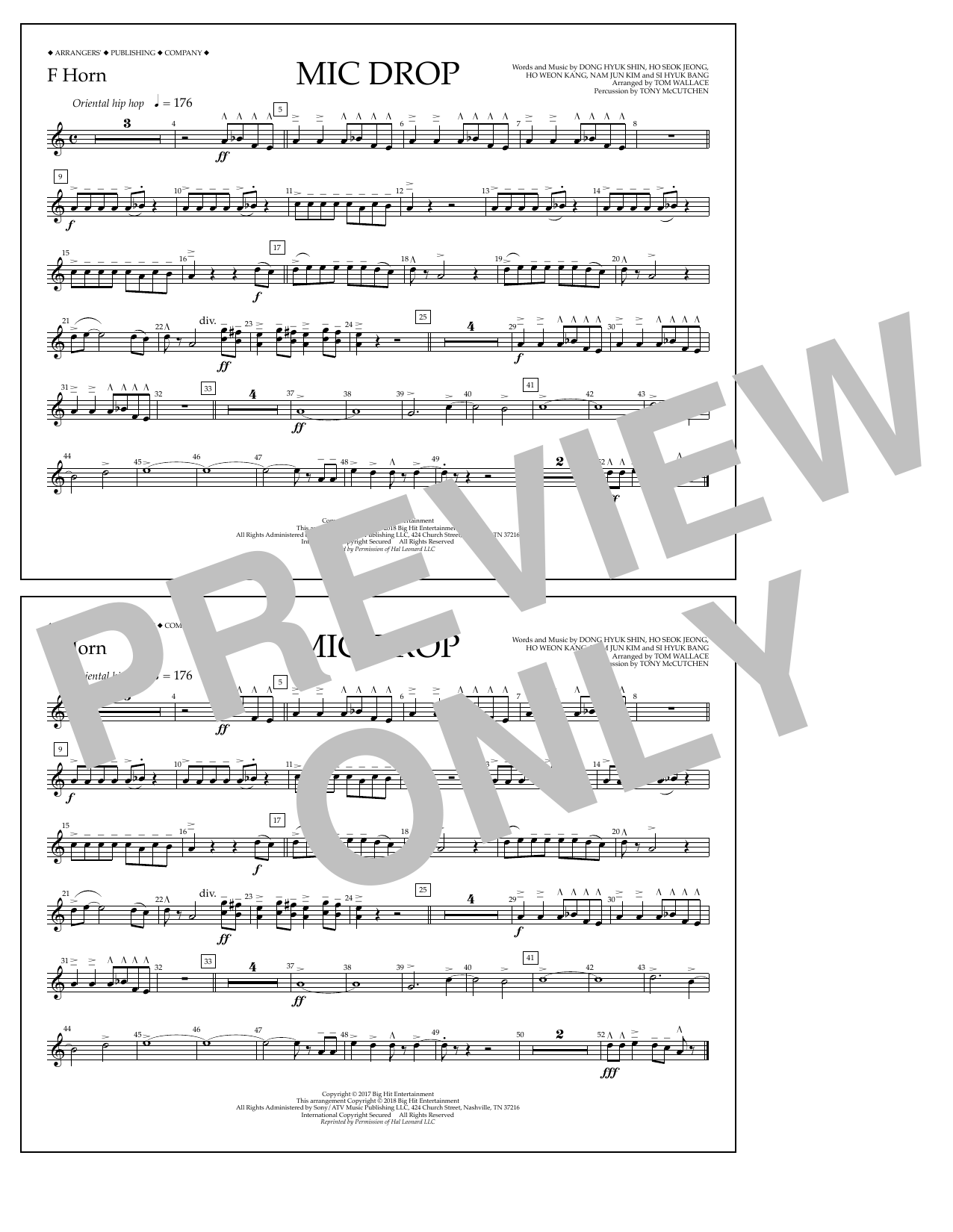 Download Tom Wallace 'Mic Drop - F Horn' Digital Sheet Music Notes & Chords and start playing in minutes