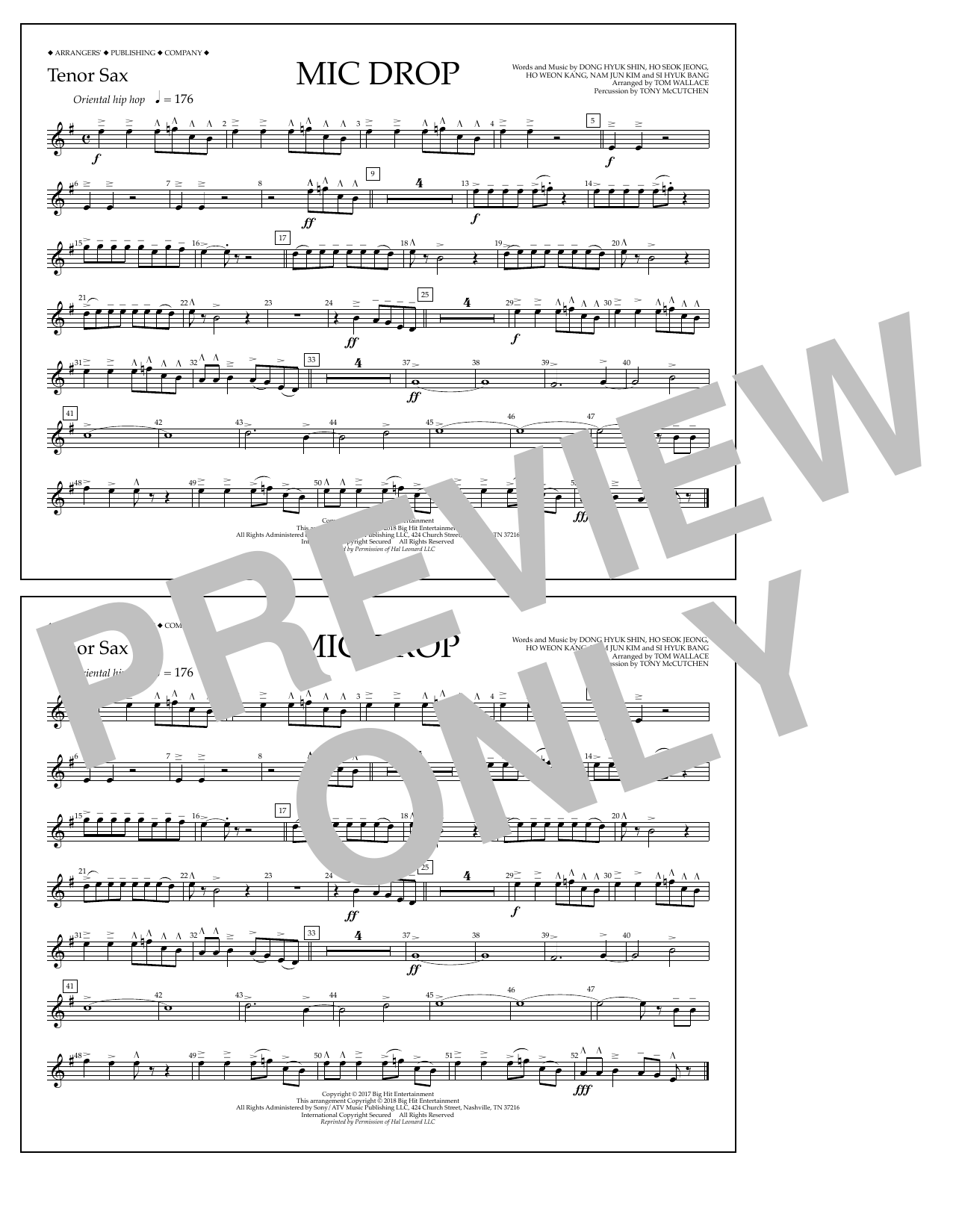 Download Tom Wallace 'Mic Drop - Tenor Sax' Digital Sheet Music Notes & Chords and start playing in minutes