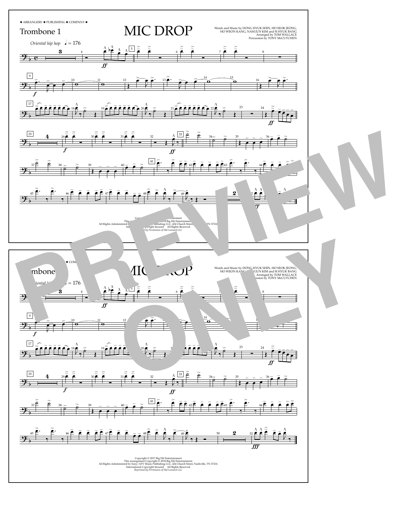 Download Tom Wallace 'Mic Drop - Trombone 1' Digital Sheet Music Notes & Chords and start playing in minutes