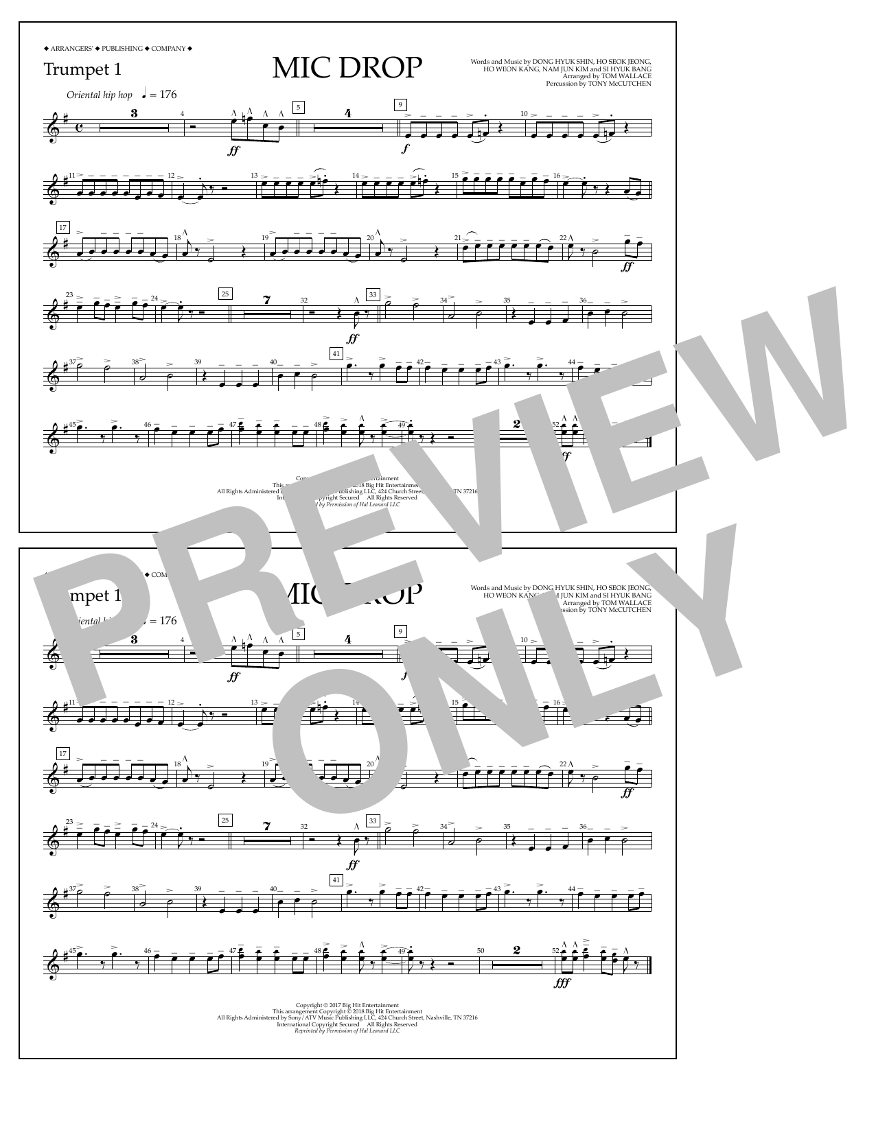 Download Tom Wallace 'Mic Drop - Trumpet 1' Digital Sheet Music Notes & Chords and start playing in minutes